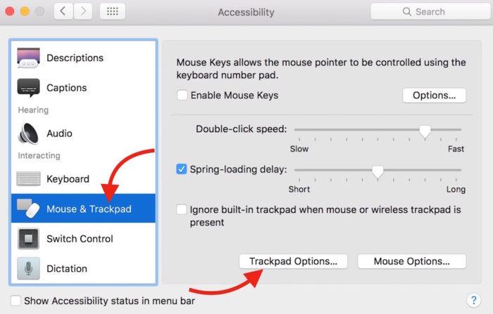 TrackPad additional option