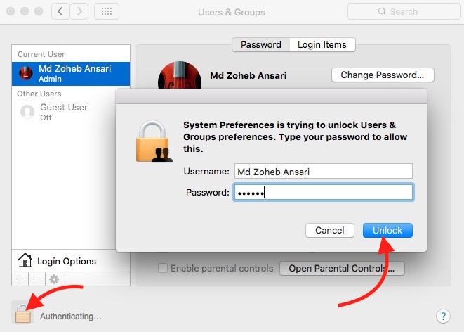 Unlock feature on mac