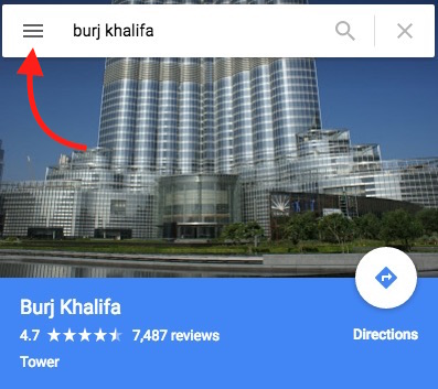 Burj Khalifa on Google Map