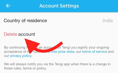 Confirm Tengi Account deactivation