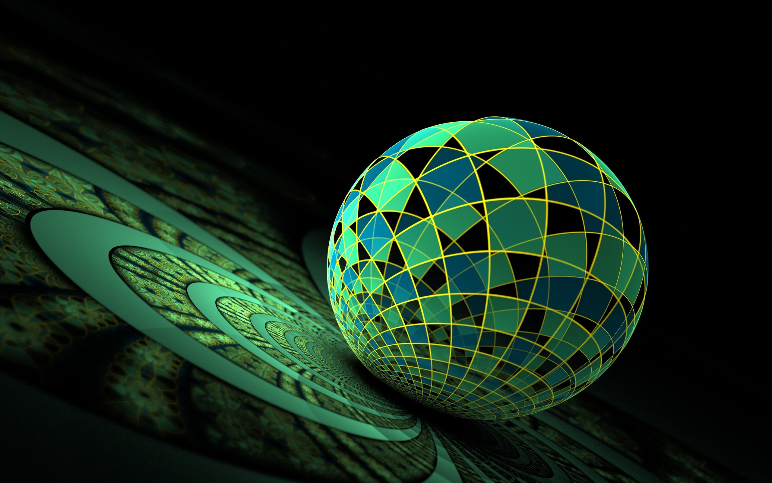 Dark green globe mix 3d wallpaper