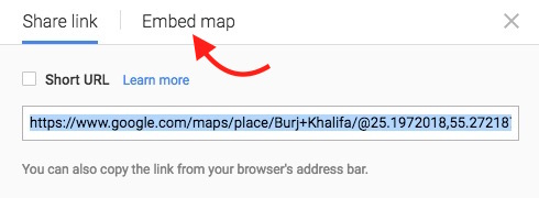 Google Map Embed Option