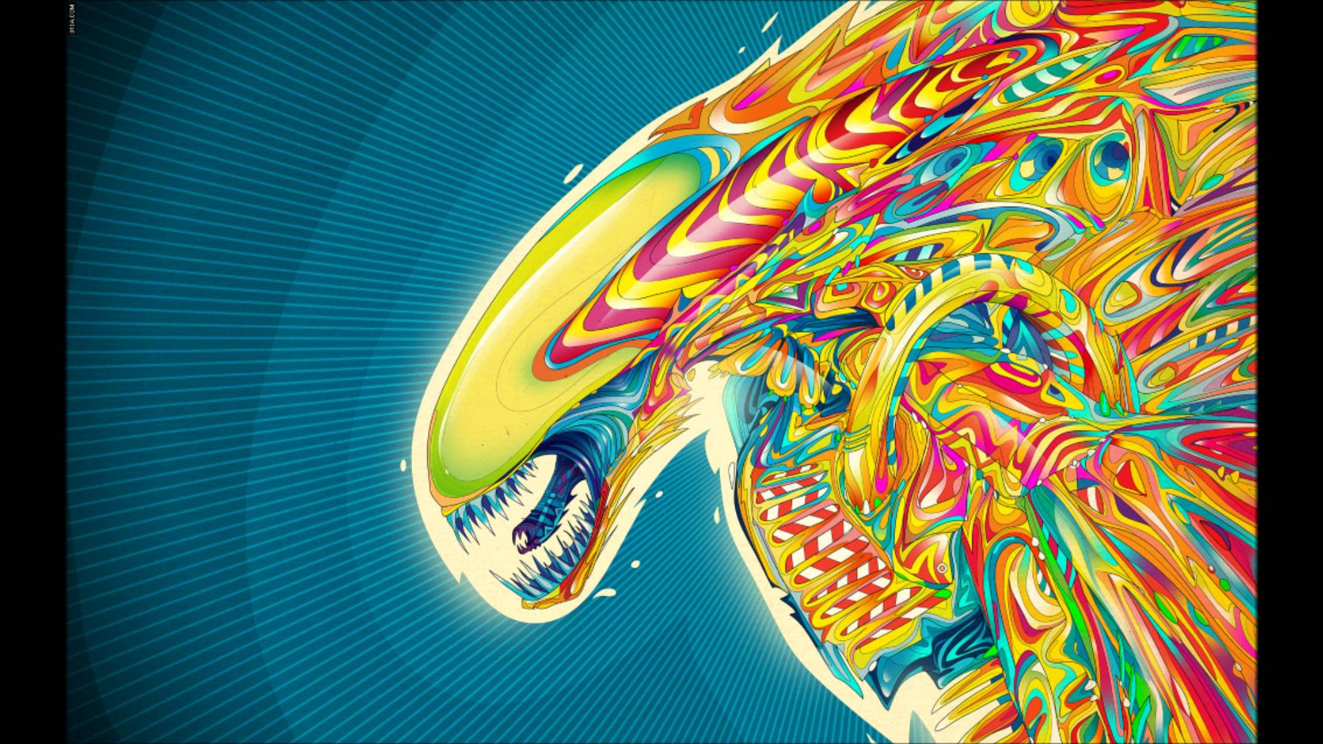 Psychedelic Wallpaper Robot