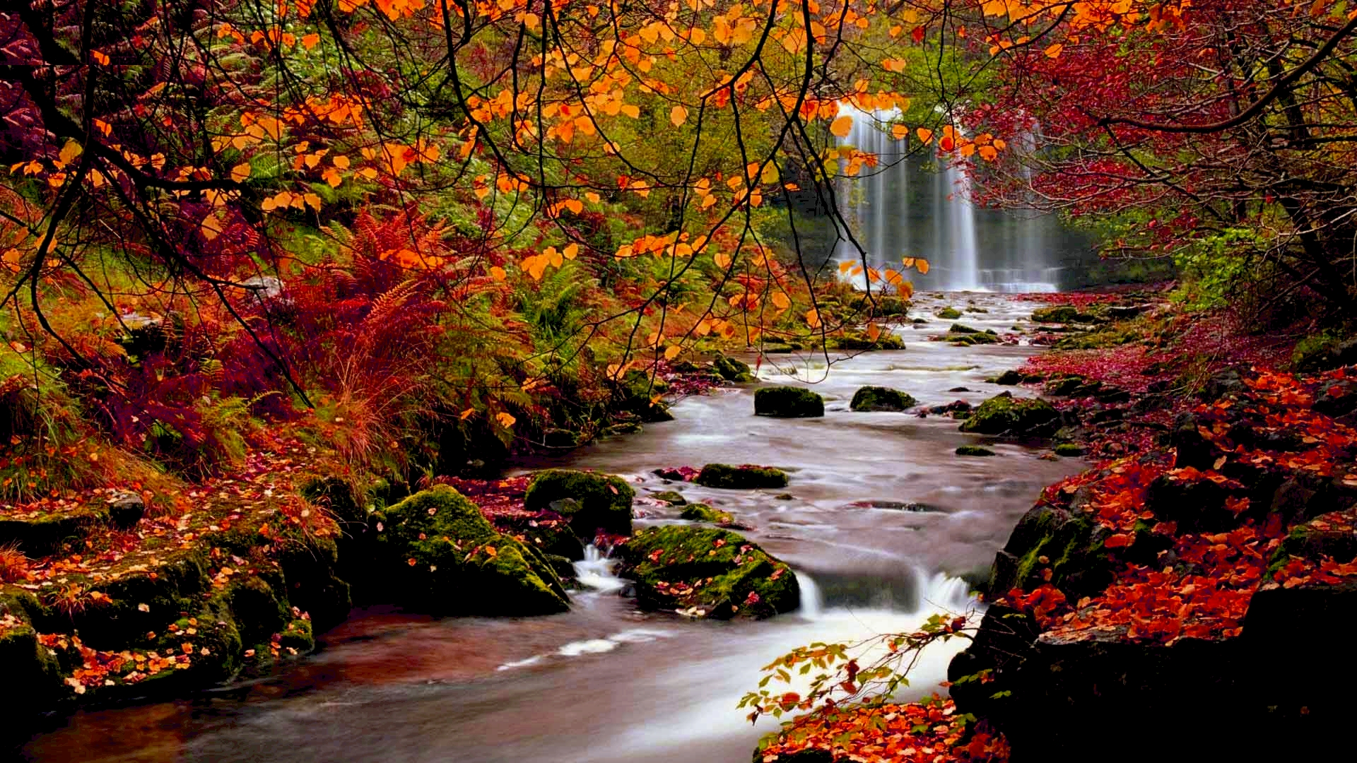 Red green mix waterfall wallpaper