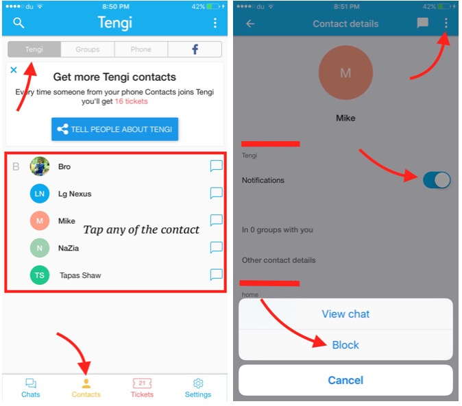 Tengi app disable notification and block contacts