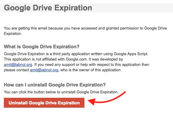 Uninstall Google Drive Expiration