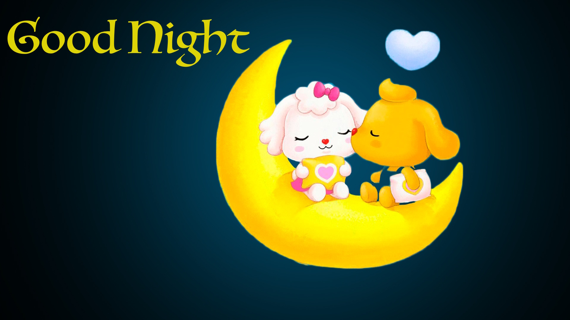 good night cartoon kiss moon image