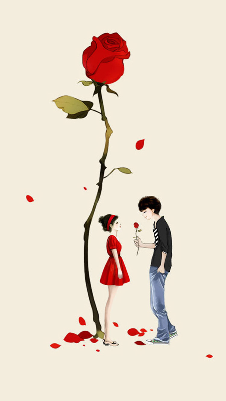 iPhone 7 big rose couple love wallpaper
