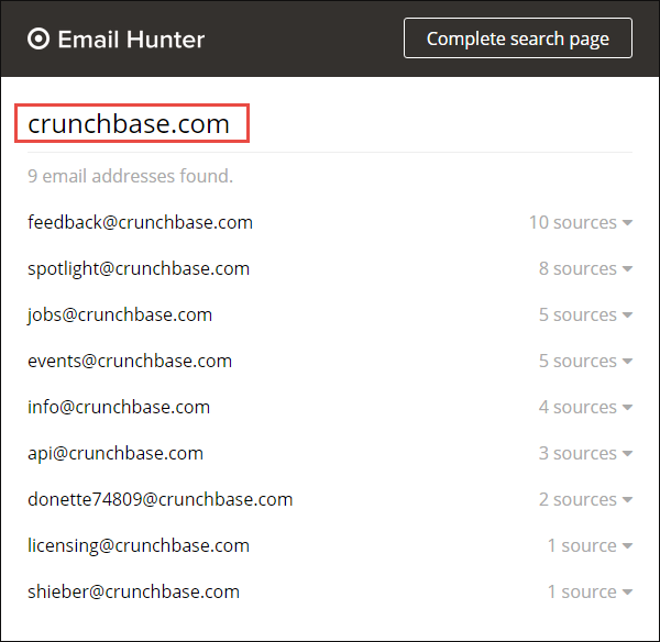 Email Hunter view