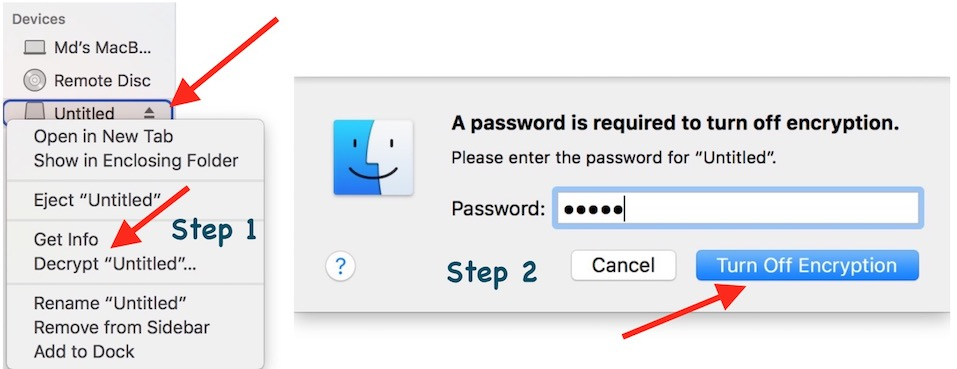 Decrypting and removing password macos