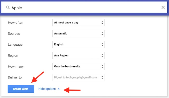 Google Alert Step 1