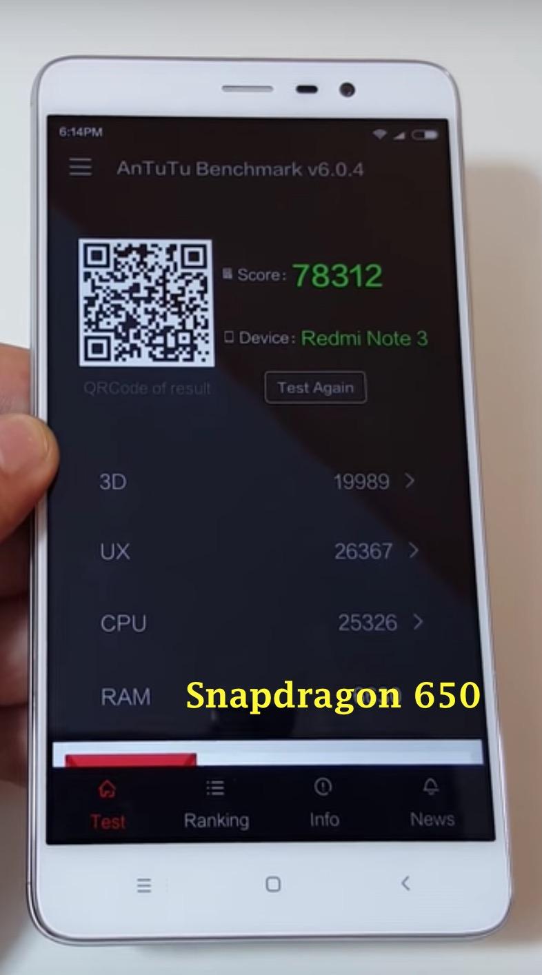 Redmi Note 3 Snapdragon 650 Antutu