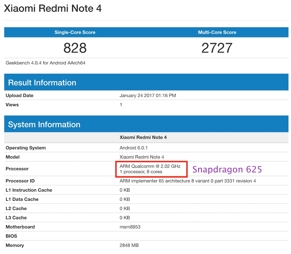 Redmi Note 4 Snapdragon 625