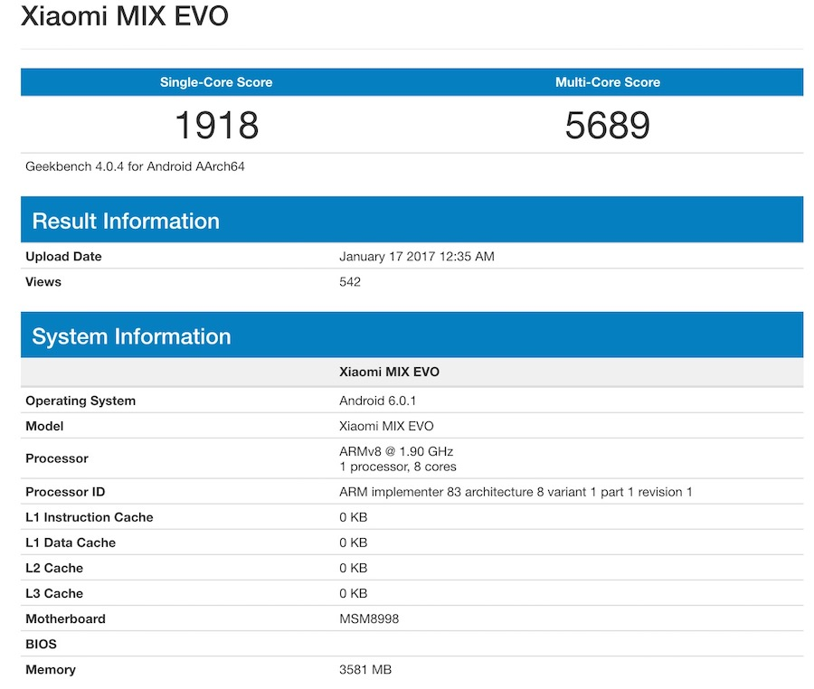 Xiaomi Mi Mix EVO Geekbench Benchmark
